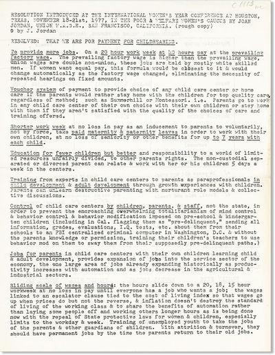 San Francisco: Union W.A.G.E., 1977. First Edition. Broadsheet (28cm.); printed from typescript. Pre...