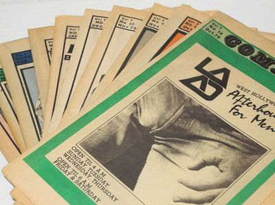 Hollywood: Compass, 1980. Newspaper. Ten issue broken run of the folded tabloid entertainment newspa...