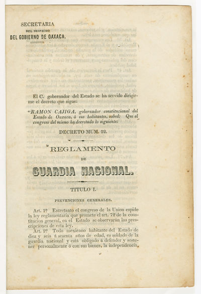 [Oaxaca, 1861. 10pp. Later plain white wrappers. Minor foxing, a few small wormholes in text just to...