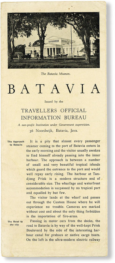 Batavia, Java: Travellers Official Information Bureau, n.d. but 1930. First Edition. Narrow octavo (...