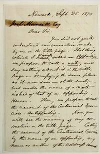 AUTOGRAPH LETTER SIGNED, AS ASSOCIATE JUSTICE OF THE UNITED STATES SUPREME COURT, TO PUBLISHER JOEL MUNSELL, 25 SEPTEMBER 1870, REGARDING CORRECTIONS TO AN ESSAY BEFORE PUBLICATION
