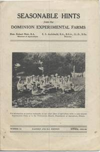 Seasonable Hints from the Dominion Experimental Farms