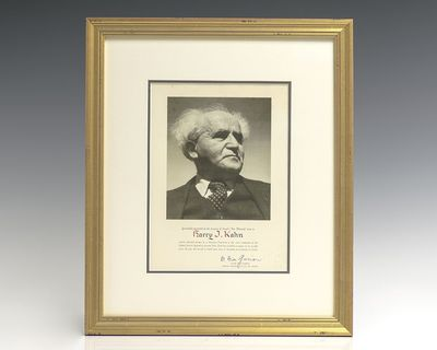 Photograph of David Ben-Gurion boldly signed by him,