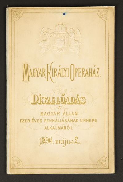 Budapest, 1896. Octavo. Cloth-backed decorative dark ivory printed boards printed in gold, with elab...