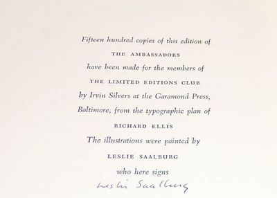 : Limited Editions Club, 1963. Hardcover. Slight darkening to the spine. About Fine in a Fine slipca...