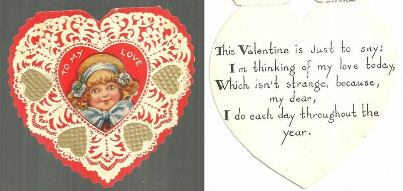 VINTAGE HEART SHAPED VALENTINE CARD WITH LITTLE GIRL, Valentine
