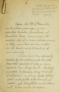 """Manuscript for an article on John Greenleaf Whittier by the Grandmother of Carroll A. Wilson commencing """"Upon the 17th of December"""""""