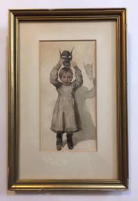[Watercolor] Girl with demonic mask