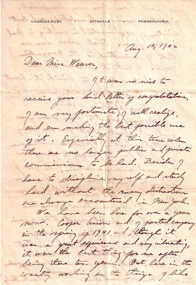 Ottsville, PA, 10 August 1942. Letter. Some folds and wrinkling with closed tears at the center with...