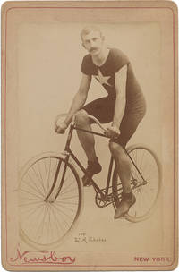 image of [Cabinet Card of Cyclist W. A. Rhodes on Bicycle]