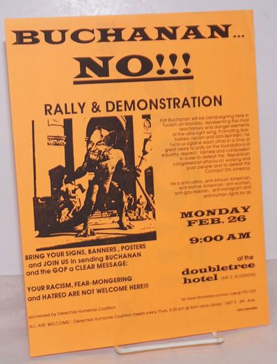 Tucson: Derechos Humanos Coalition, 1996. Single 8.5x11 inch handbill printed both sides on bright o...