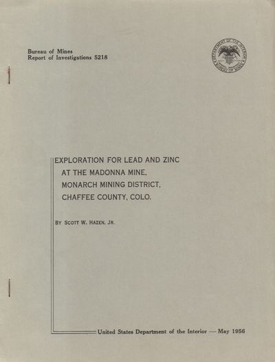 Denver, CO: United States Department of the Interior. Very Good. 1956. Stapled wraps. Grey staple bo...