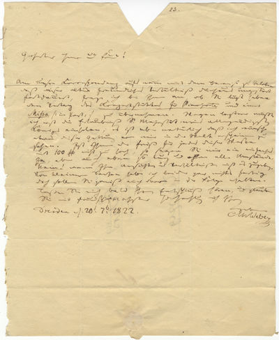 1 page. Quarto (198 x 246 mm). Dated Dresden, July 20, 1822 and postmarked September 22, 1822. In bl...