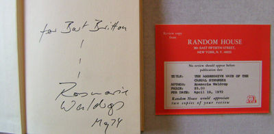 New York: Random House, 1972. First edition. Hardcover. Very Good/good. 8vo. A 91 pp poetry collecti...