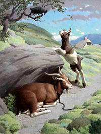 Two Goats with a Bird above by  Edward  (1900-1981) Osmond - Signed - from Alan Wofsy Fine Arts (SKU: 16-3150)