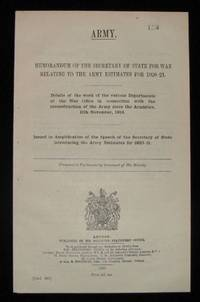 Memorandum of the Secretary of State for War Relating to the Army Estimates for 1920-21 by Winston S. Churchill - Paperback - 1st Edition - 1920 - from Churchill Book Collector and Biblio.com