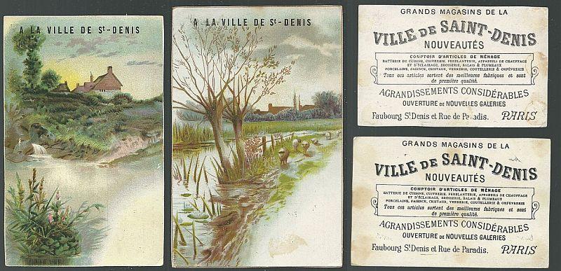 LOT OF TWO VICTORIAN TRADE CARDS FOR VILLE DE SAINT DENIS, PARIS WITH LANDSCAPE, Advertisement