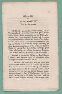 Memoranda of Thomas Coventry, Earl of Coventry