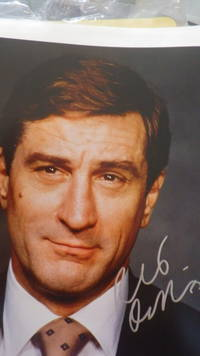 SIGNED  Color Photograph Robert DeNiro Hollywood Actor wearing Suit & Tie Smiling Slightly