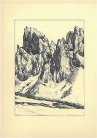 Maigrubenspitze [Stubaier Alpen, Tirol, Österreich], 1951. Schwarze Tusche und Bleistift auf weißem Karton. Vom Künstler l. u. mit schwarzer Tusche datiert \