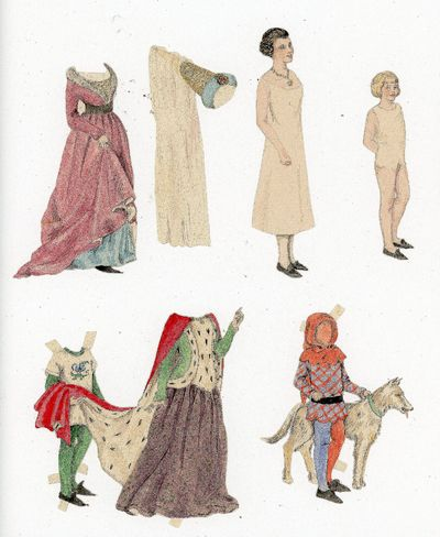 1890s. Two (2) handmade watercolor paper dolls. The first is a 4 3/4