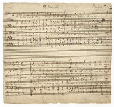 Oblong quarto. 1 leaf. Two 4-part vocal settings of the hymns
