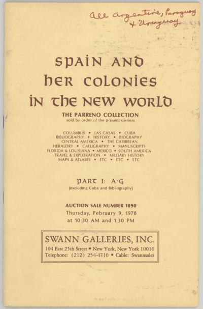 New York: Swann Galleries, 1978. First edition. Stapled paper wrappers. Inked notations on wrappers ...