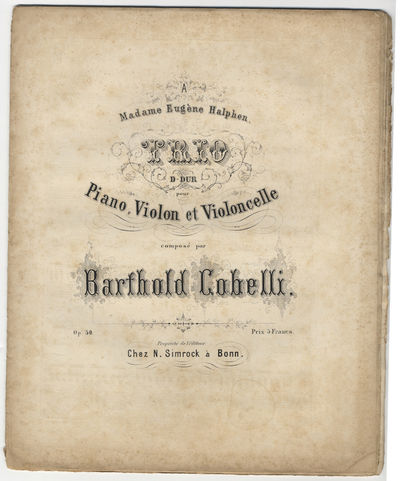 Bonn: N. Simrock , 1865. Folio. Unbound. Pianoforte score: (title), 2-17, (blank) pp.; Violino: 4 pp...