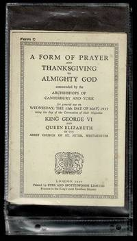 image of A Form of Prayer and of Thanksgiving to Almighty God: Coronation of their Majesties King George VI and Queen Elizabeth