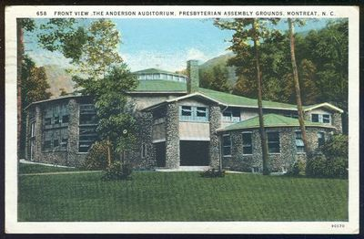 ANDERSON AUDITORIUM, PRESBYTERIAN ASSEMBLY GROUNDS, MONTREAT, NORTH CAROLINA, Postcard
