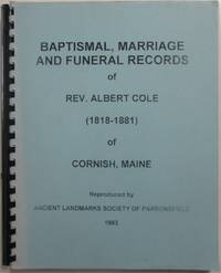 image of Baptismal, Marriage and Funeral Records of Rev. Albert Cole (1818-1881) of Cornish, Maine