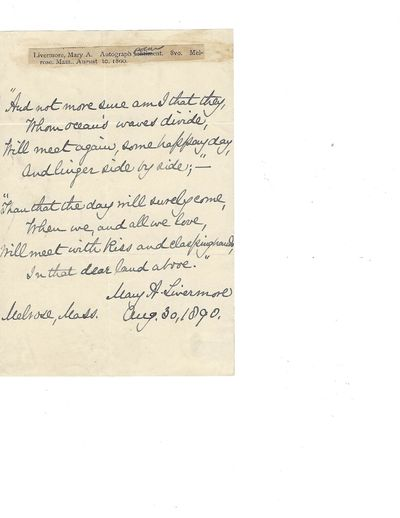 Mary Livermore Autograph Poem Signed:...