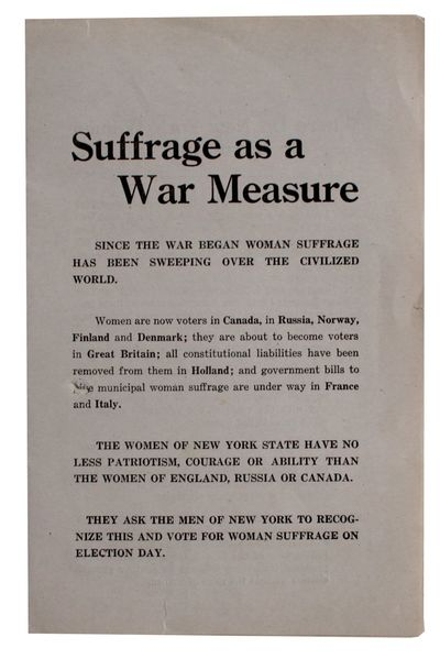 New York City: New York State Woman Suffrage Party, 1917. 8¼