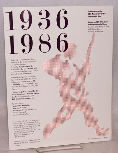 San Francisco: the Veterans, 1986. 1p. three-color poster/flyer, 8.5x11 inches, very good condition.