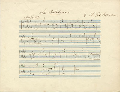 1 leaf. Oblong quarto (169 x 205 mm). Undated, but after 1845. 16 measures for piano. Notated in bla...