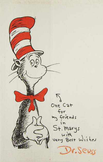 Single sheet of Cat in the Hat stationery printed in red and black. 8 1/2 x 5 1/2 inches. Vertical f...