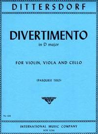 image of Divertimento in D Major - for Violin, Viola, and Cello [VIOLIN FULL SCORE plus VIOLA and CELLO PARTS]