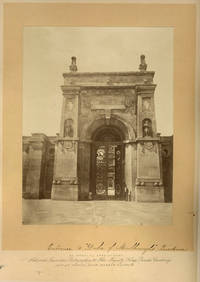 Large mounted albumen photograph of the Eastern Gateway of Blenheim Palace