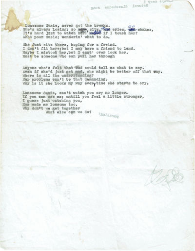 "Typed Manuscript Lyrics for ""Lonesome..."