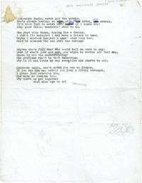 "Typed Manuscript Lyrics for ""Lonesome Susie"""