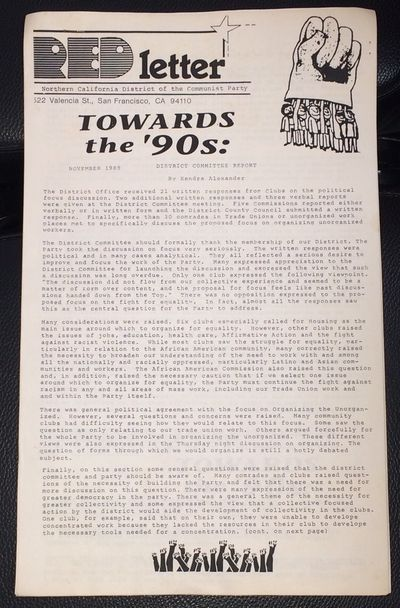San Francisco: Northern California District of the Communist Party, 1989. 7p., 8.5x14 inch sheets st...