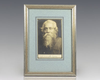 Rare original silver gelatin print of Nobel Prize-winning author Rabindranath Tagore. Signed by Rabi...