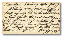 [AUTOGRAPH POSTCARD, SIGNED WITH INITIALS] by Whitman, Walt
