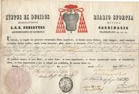 Document, in Latin with translation, issued in his name, (Sisto, 1810-1877, Cardinal, from 1845 Archbishop of Naples)]
