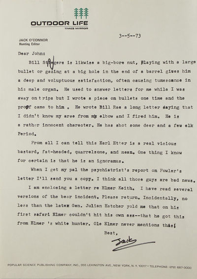 vp, 1973. 4to. Fine, with corrections, with envelopes on occasion. 4to. Jack O'Connor served as the ...