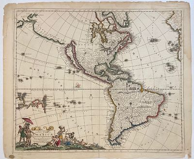Amsterdam: Justus Danckerts. Map. Engraving with original outline color. 19.5 x 22.5 inches. Stains ...