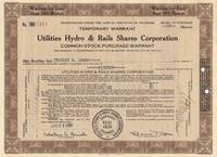 image of A Vintage Utilities Stock Certificate Issued to Charles R. Adams on April  29th 1930