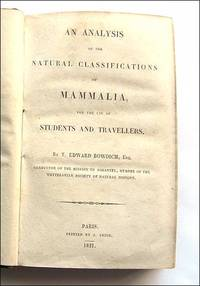 An Analysis of the Natural Classifications of Mammalia. Elements of Conchology Part 1 and 11.