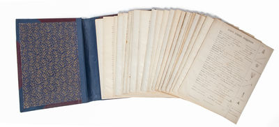 , 1902. Half cloth over leather and card portfolio, floral paper interior. Containing 36 individual ...