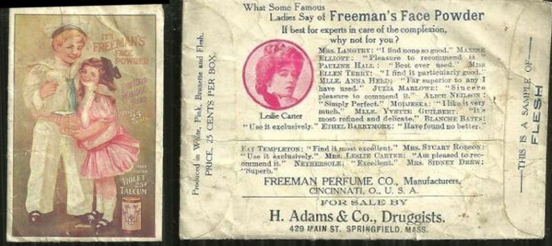 VICTORIAN SAMPLE PACKAGE OF FREEMAN'S FACE POWDER, Advertisement